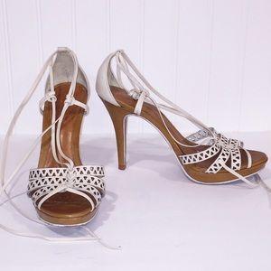 SCHUTZ Cream Laser Cut Leather Ankle Wrap Heels 8
